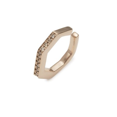 Hirotaka Octagon Diamond Ear Cuff - Rose Gold