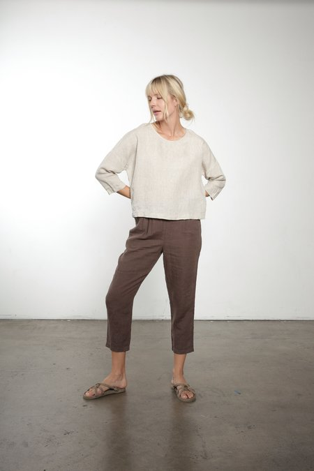 It Is Well L.A. 3/4 Sleeve Linen Top - Natural