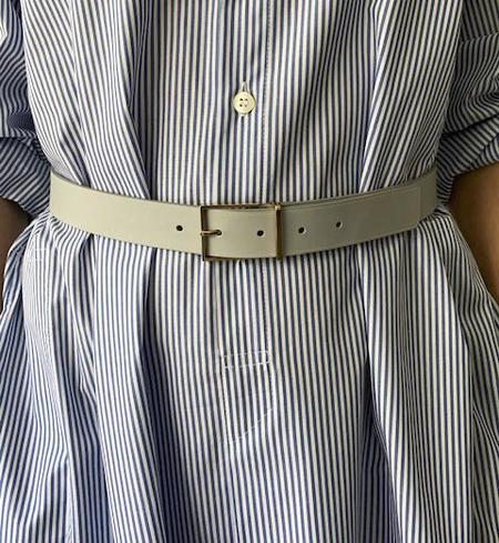 MAISON BOINET Leather Belt - Dove Grey