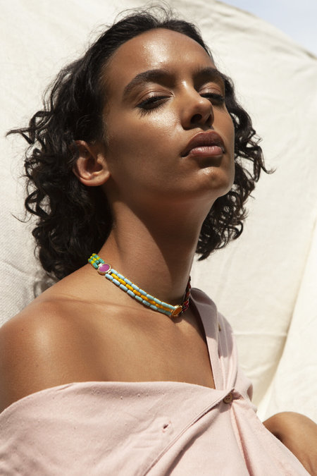 A. Carnevale Glass Bead Necklace in Multi