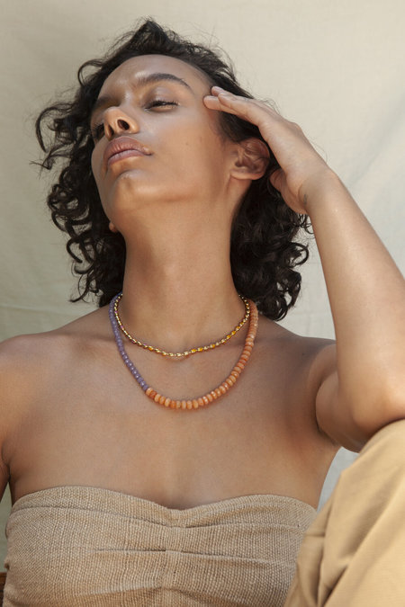 A. Carnevale Beaded Necklace in Purple/Orange