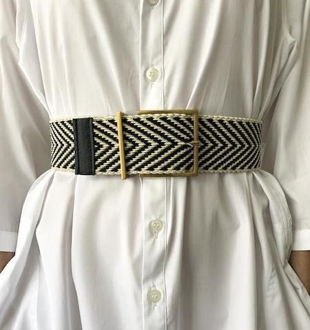 MAISON BOINET Woven Elastic Cord Belt - Cream/Black