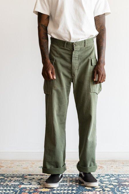 Vintage 1950's Herringbone Cargo Pants - Army