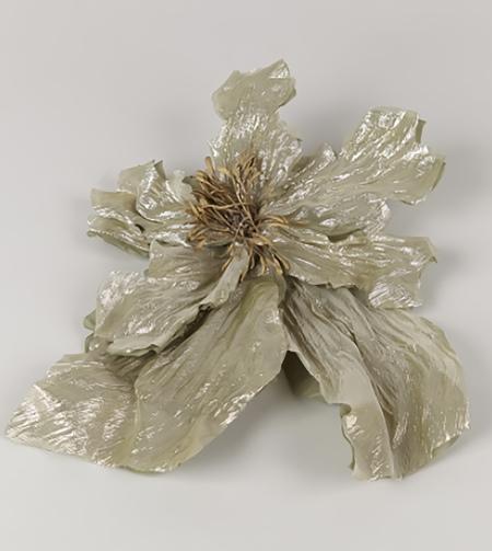 INDRESS Silk Poppy Brooch - Gold/Khaki