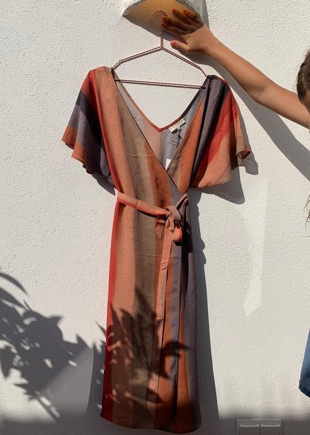 Komana Astra Silk Wrap Dress - Dunes Print