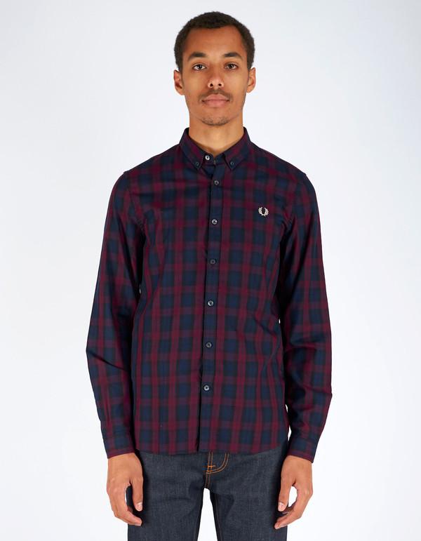 Men's Fred Perry Winter Tartan Shirt Mahogany
