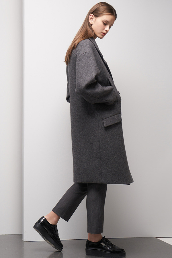LOOKAST Oversized Double Breasted Wool Coat- Gray
