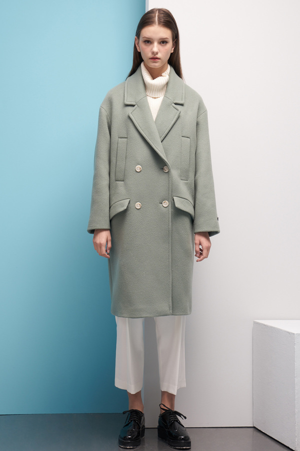 LOOKAST Oversized Double Breasted Wool Coat- Mint