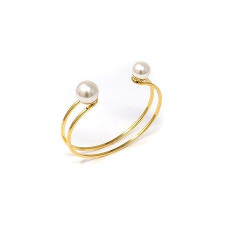 Joomi Lim Small Double Cuff W/ 2 Pearls - Gold/White
