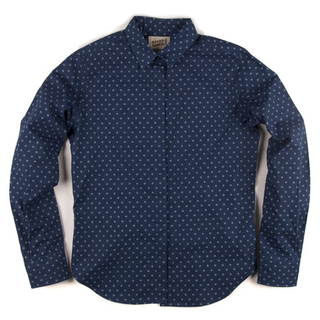 Men's Naked & Famous  BLUE PRINTED SHIRT