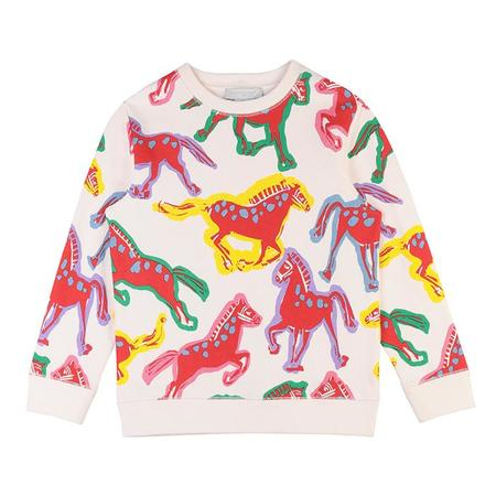 Kids Stella McCartney Child Sweatsuit With All Over Horses Print - Cream