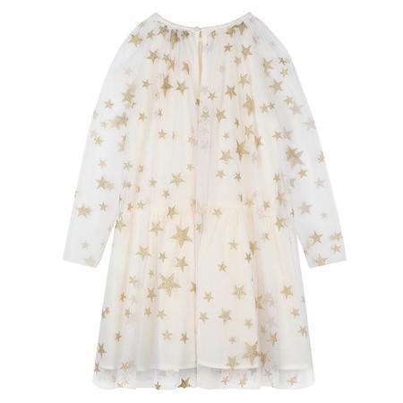 Kids Stella McCartney Child Tulle Dress With Gold Stars - Cream