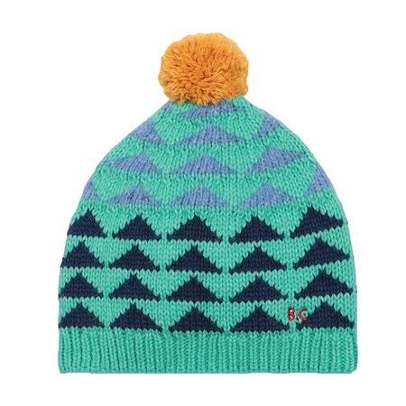 Kids Bobo Choses Child Intarsia Knit Hat With Pompom - Blue