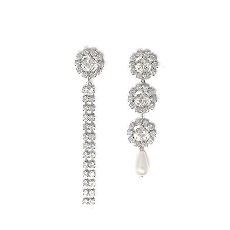 Joomi Lim Asymmetrical Crystal Flower Earrings with Crystal Chains & Pearl