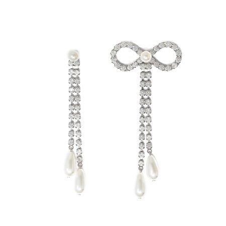 Joomi Lim Asymmetrical Long Crystal Bow and Crystal Chain Pearls Earrings - Brass