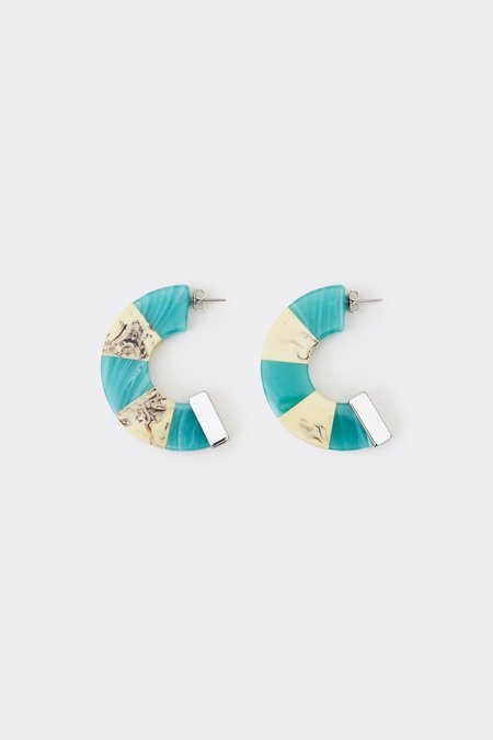 Rachel Comey Tabby Hoop Earring - Turquoise White Marble