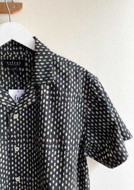 Velvet Franco Button Up - Navy