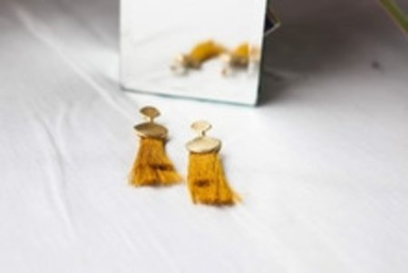 Takara Palm Earring - Mustard