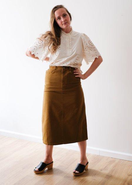 Sea NY Metta Acid Wash Denim Skirt - Olive