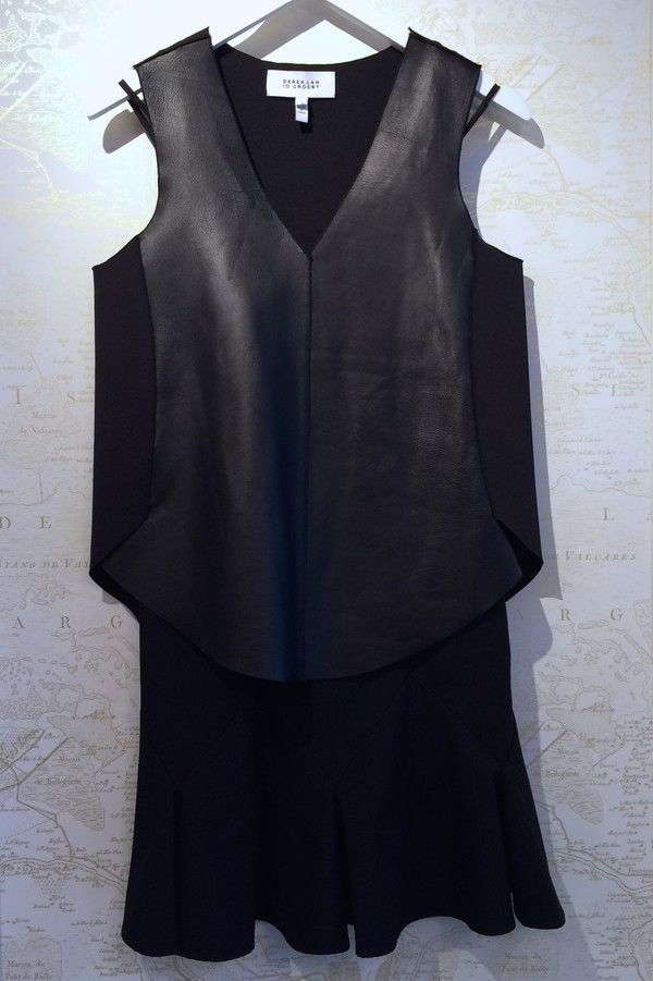 Derek Lam 10 Crosby 2 in 1 Dress with Leather Front and Pleated Skirt