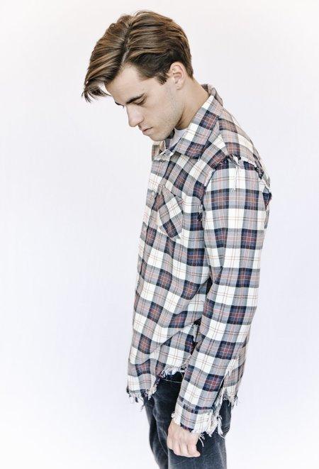 R13 Frayed Flannel Button Down Shirt - Ecru Plaid