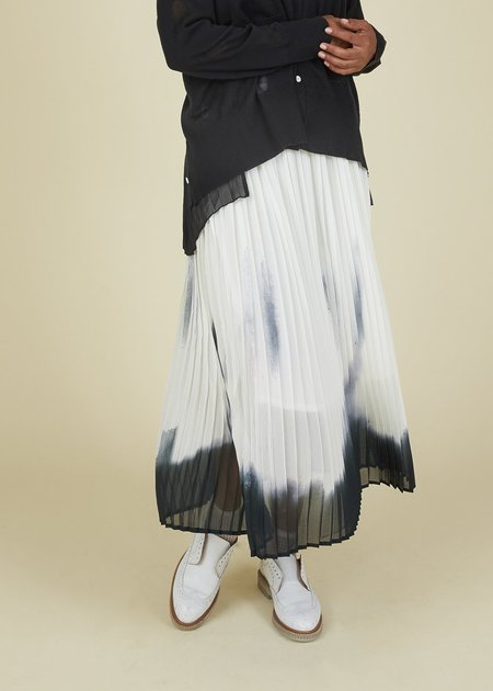 Yoshi Kondo Hint Pleated Skirt - Ivory & Black