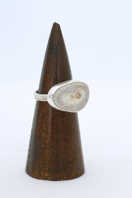 CLP Jewelry Antler Slice RIng with diamond - Sterling Silver