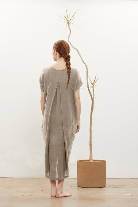 Black Crane Pleated Cocoon Dress - Natural