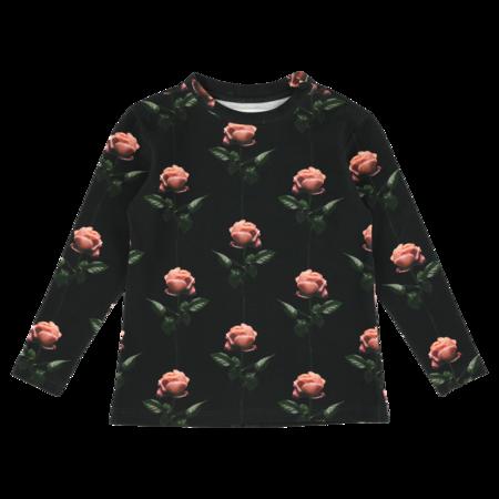 Kids Caroline Bosmans Rose Printed T-shirt - Black
