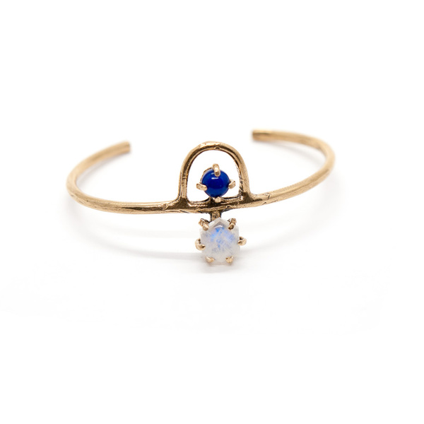 Laurel Hill Jewelry Arche Cuff // Moonstone & Lapis