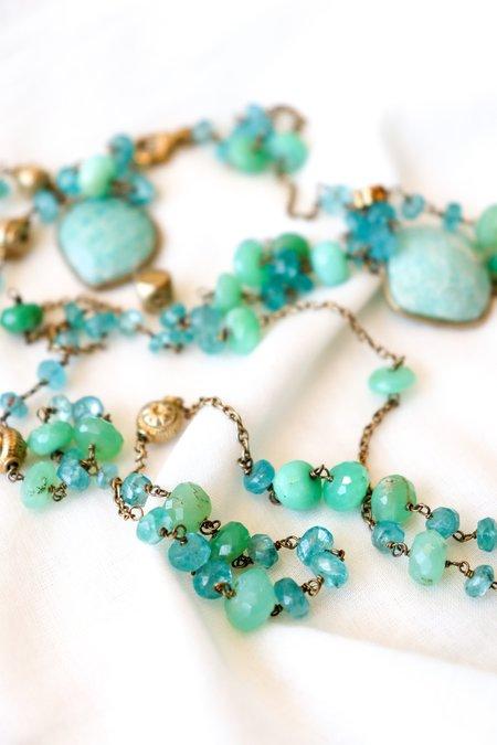 Vasant Chrysoprase, Apatite and Amazonite Wrap Necklace