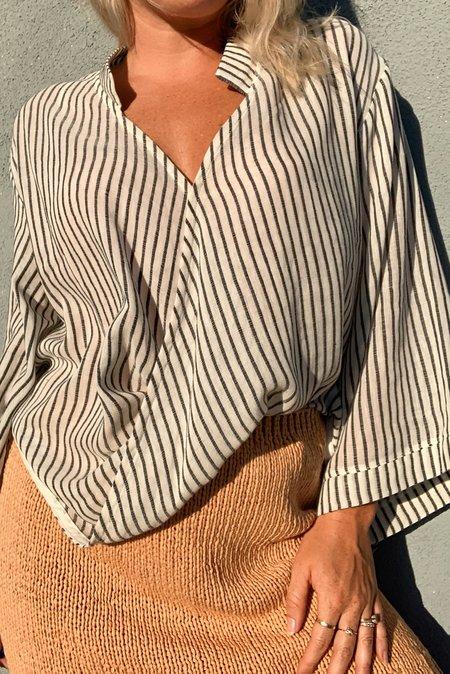 Handloom Sade Striped Top - Black Stripe