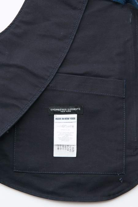 Engineered Garments Shoulder Vest - Navy Cotton Double Cloth