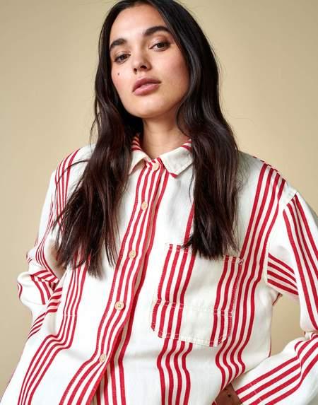 Bellerose Pilou Overshirt Jacket - Red Stripe