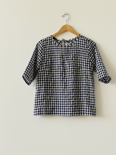 Modaspia Pintuck Blouse - White/Navy Gingham