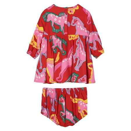 Kids Stella McCartney Baby With All Over Horses Print Dress  - Red