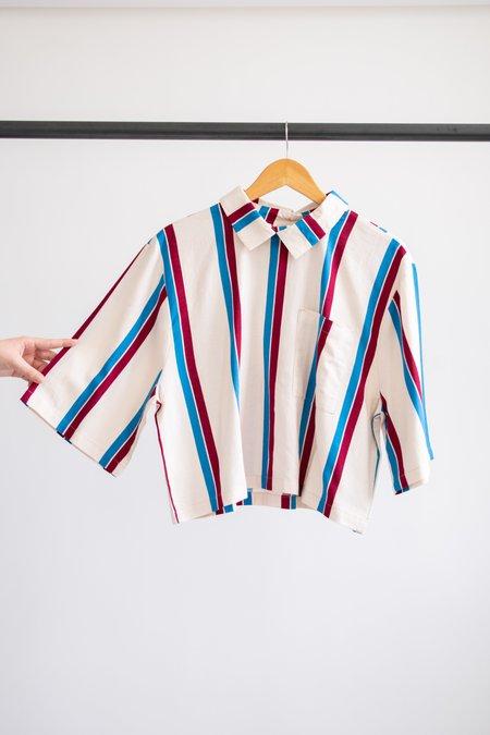 Conrado Ronnie Boxy Collared Top - Red/Cream/Blue Stripe