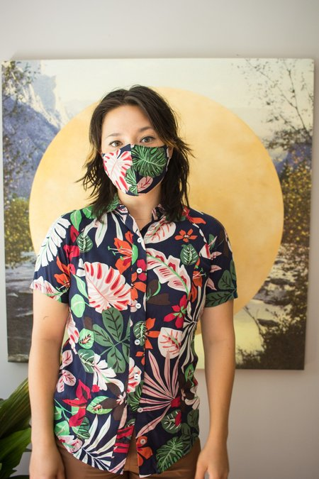 Street and Saddle Floral Horse Camp Short Sleeve Top - Monstera