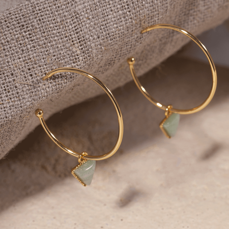 EMMA & CHLOE LARA TRIANGLE GEMSTONES HOOP EARRINGS - Gold