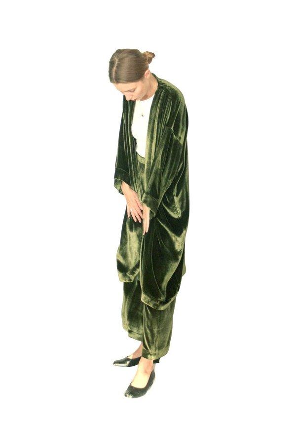Strathcona Silk Velvet Kimono Robe in Deep Green
