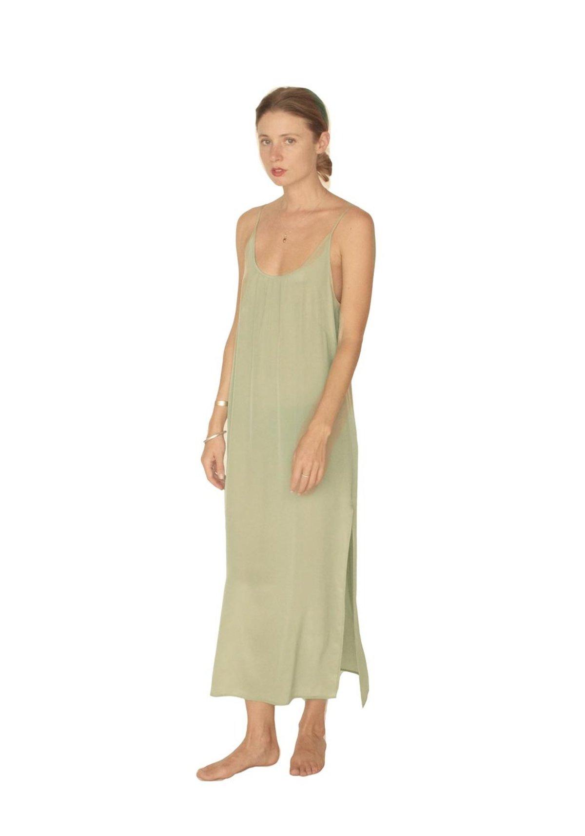 Strathcona Light Moss Green Silk Slip Dress   Garmentory