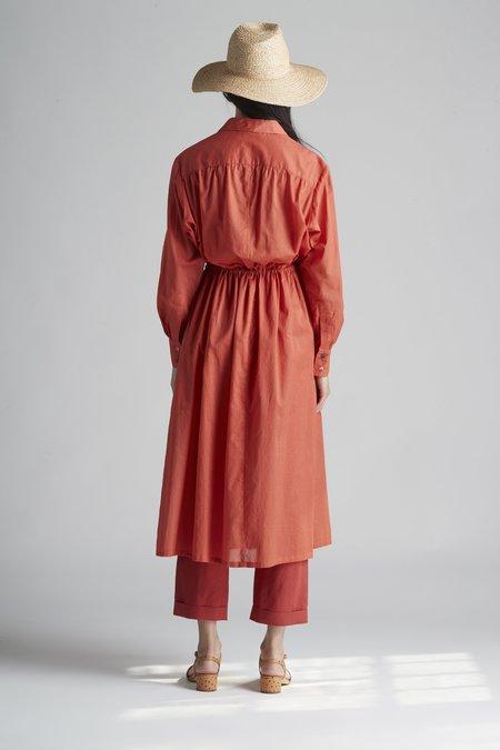 Christine Alcalay Long Sleeve Tie Waist Cotton Voile Shirt Dress
