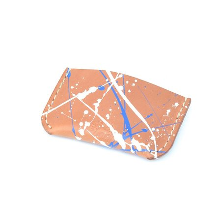 Made Solid Blue and White Splatter Card Sleeve - Natural