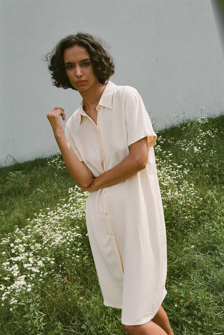 Vintage Silk Shirtdress - Butter