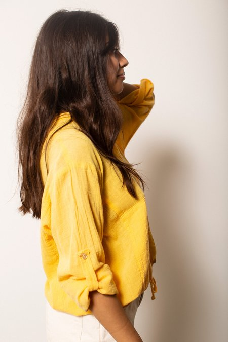 Vintage Hooded Button-Up Top - Yellow