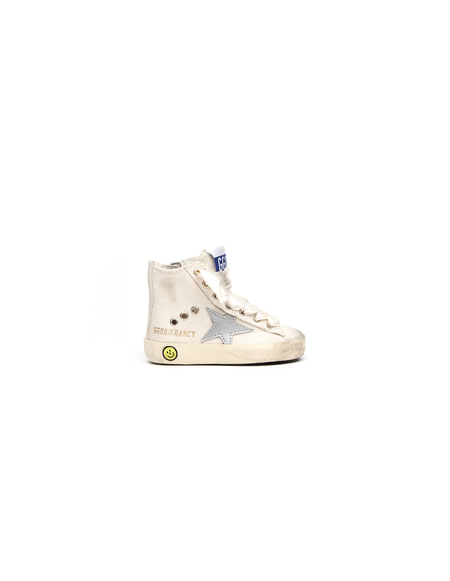 Kids Golden Goose Leather and cotton sneakers - beige