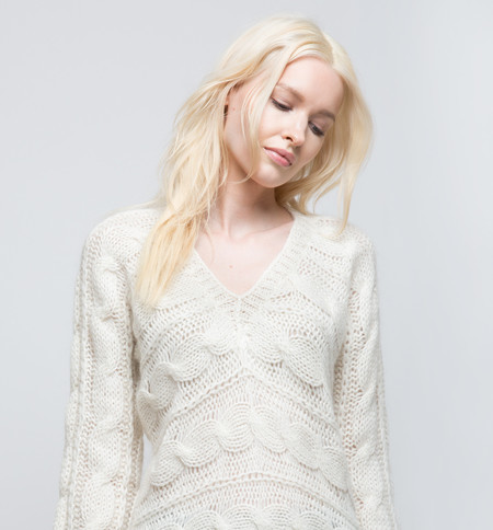 Ryan Roche V-Neck Sweater Ivory