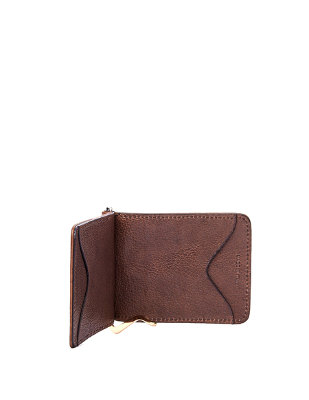Ugo Cacciatori Grained Leather Clip Card Holder - Beige