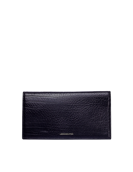 Ugo Cacciatori Grained Leather Long Pocket Wallet - Black