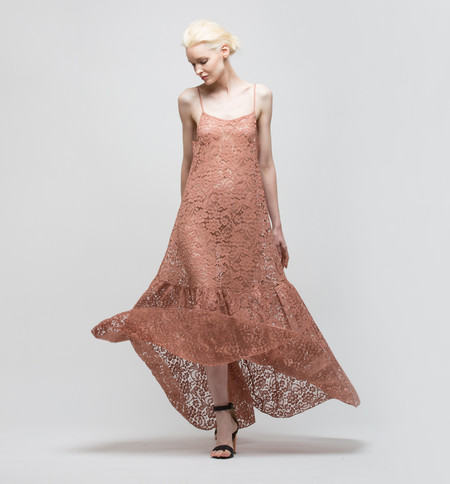 Ryan Roche French Lace Dress Rose Sable